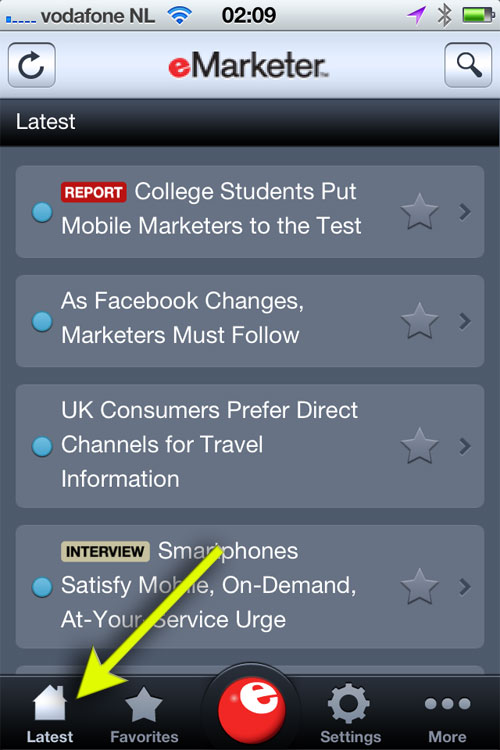 First screen of the eMarketer app