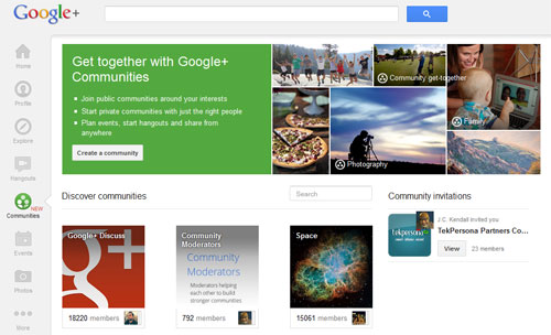 Google+ Communities listing