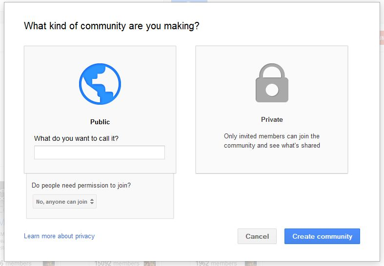 Google+ Communities creation
