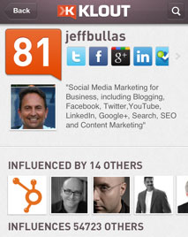 Klout on the iPhone