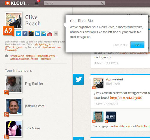 Klout profile page