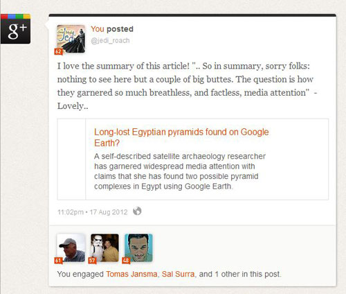 Klout moments - Googleplus