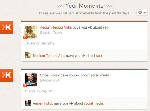 Klout Dashboard summary - Klout scores