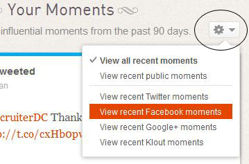 Klout moments settings button