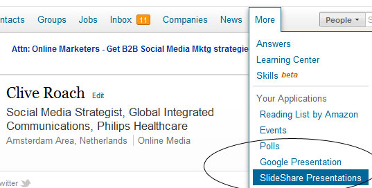 Linkedin &amp; Slideshare May 2012