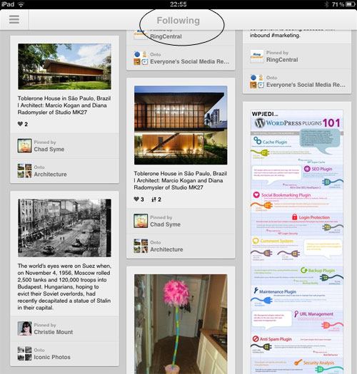 Pinterest version 2 opens to the following stream