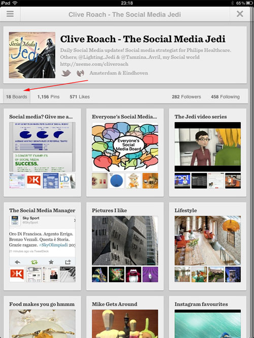 Pinterest version 2 profile page