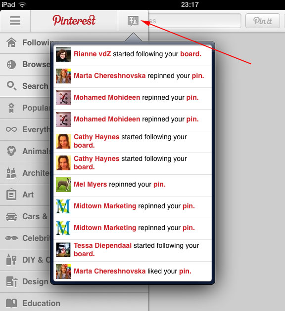 Pinterest version 2 recent activity