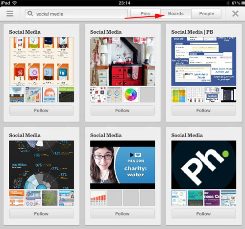 Pinterest version 2 search results - Boards